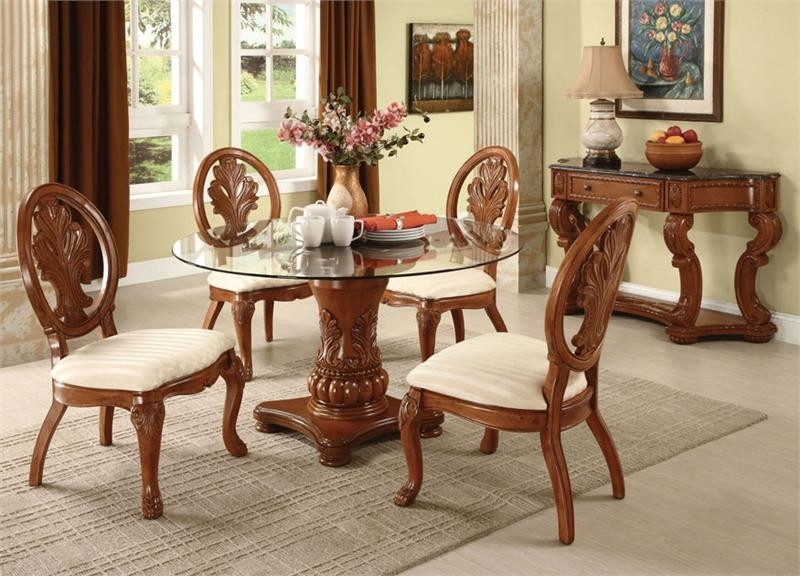 Round Dining Table Set For 4 | Homesfeed Inside Dining Table Chair Sets (View 25 of 25)