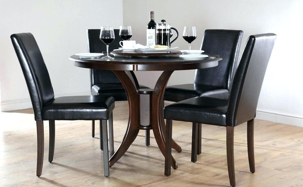 Round Dining Table Set For 4 Round Black Dining Tables Dining Room Pertaining To Dining Tables Dark Wood (Image 22 of 25)