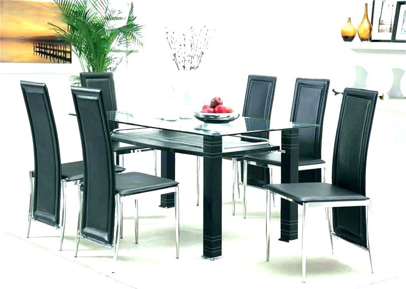 Round Dining Table Set For 6 6 Chair Dining Table Set Glass Top Pertaining To Glass Dining Tables With 6 Chairs (Image 22 of 25)