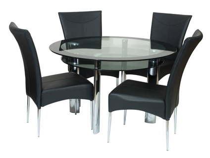 Round Dining Table With 4 Chairs Impressive Glass Set For Decor 13 With Round Black Glass Dining Tables And 4 Chairs (Image 22 of 25)
