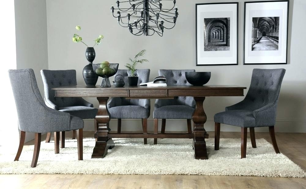 Round Dining Table With Upholstered Chairs | Karennarvasa In Jaxon Grey 7 Piece Rectangle Extension Dining Sets With Wood Chairs (Image 19 of 25)