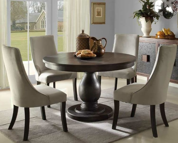 Round Dining Table With Upholstered Chairs | Karennarvasa Intended For Jaxon 5 Piece Round Dining Sets With Upholstered Chairs (Photo 1 of 25)