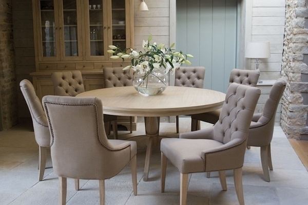 Round Dining Table With Upholstered Chairs | Karennarvasa With Regard To Jaxon Grey 5 Piece Round Extension Dining Sets With Wood Chairs (View 11 of 25)