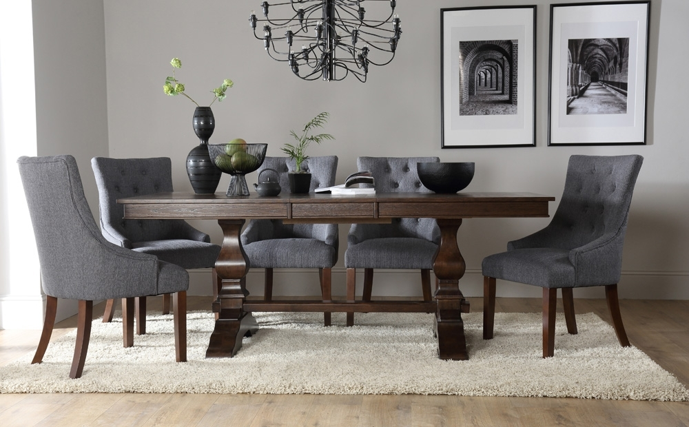 Round Dining Table With Upholstered Chairs | Vineaentertainment In Jaxon 7 Piece Rectangle Dining Sets With Upholstered Chairs (Image 20 of 25)