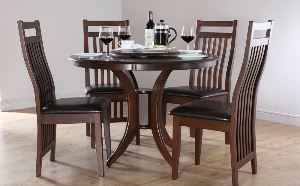 Round Dining Tables And Chairs | Best Dining Table Ideas Intended For Dark Wood Dining Tables And Chairs (Image 21 of 25)