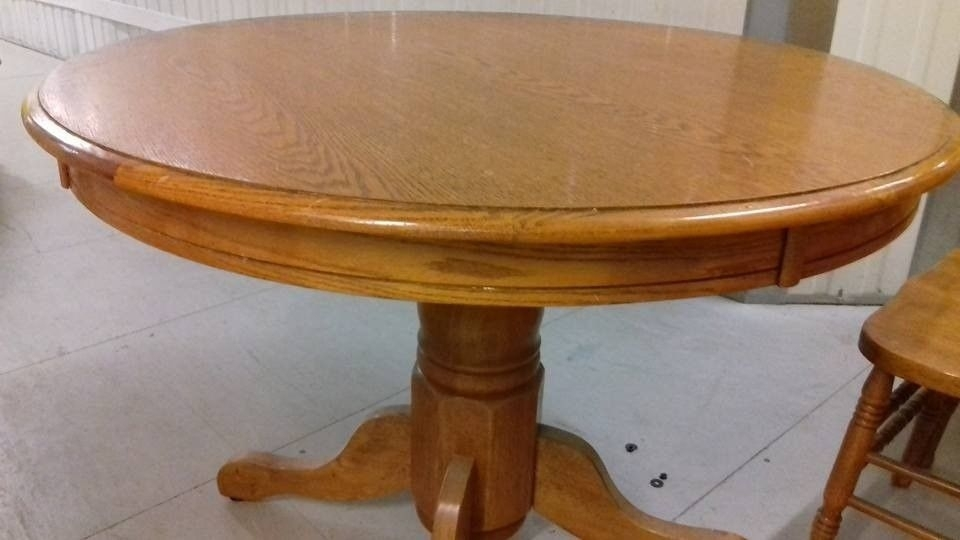 Round Dining Table,solid Oak,non Extendable,carved,105Cm,adjust Within Non Wood Dining Tables (Image 21 of 25)