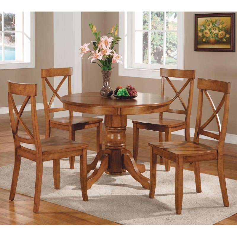Round Dinner Table Set – Castrophotos In Macie 5 Piece Round Dining Sets (View 4 of 25)