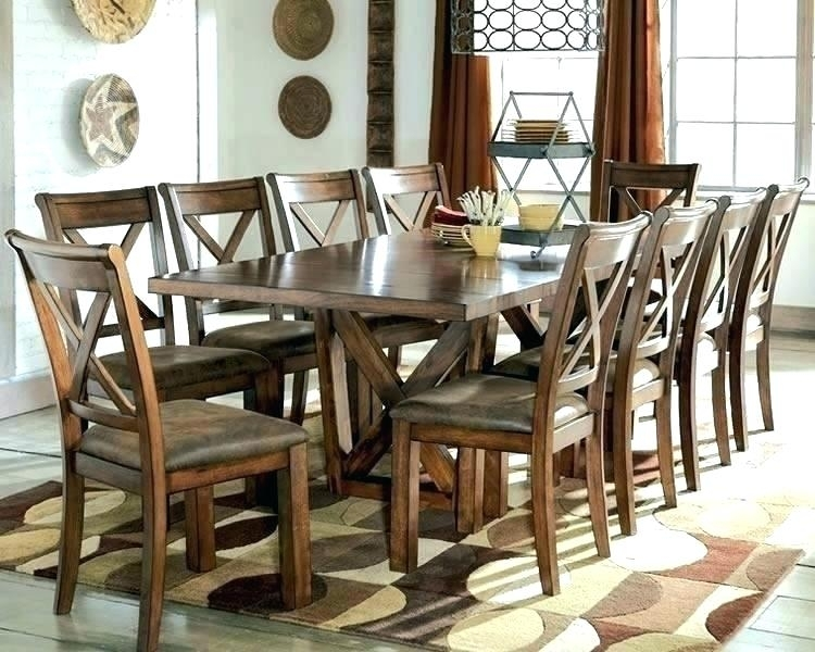 Round Extendable Dining Table Seats 10 – Getdotcom Inside 10 Seat Dining Tables And Chairs (Image 22 of 25)