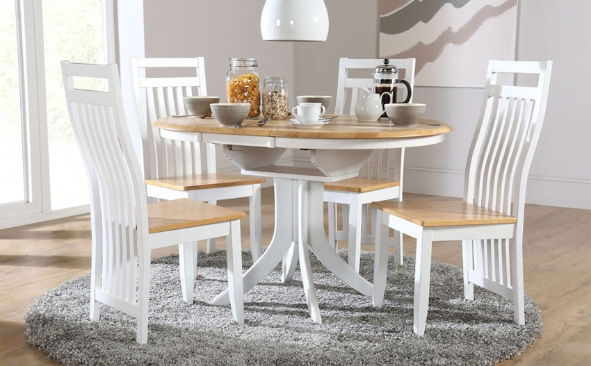 Round Extending Dining Table Sets – Castrophotos Pertaining To Jaxon Grey 5 Piece Round Extension Dining Sets With Wood Chairs (View 13 of 25)