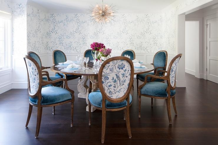 Round French Dining Table With Blue Velvet Oval Back Dining Chairs Intended For Blue Dining Tables (Image 20 of 25)