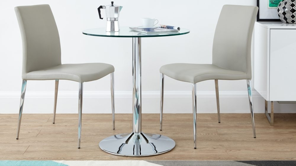 Round Glass 2 Seater Dining Set Faux Leather Dining Chair In Two Person Dining Table Sets (Image 15 of 25)