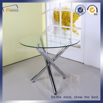 Round Glass Dining Table With 3 Metal Legs – Buy Round Glass Dining Pertaining To Glass Dining Tables With Wooden Legs (View 25 of 25)
