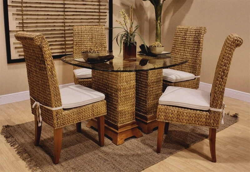 Round Glass High Table And Rattan Legs Decor Vase Flower On Top With With Rattan Dining Tables And Chairs (Image 19 of 25)