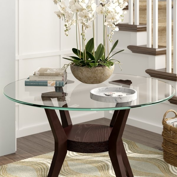 Round Glass Table Top Replacement | Wayfair For Ina Pewter 60 Inch Counter Tables With Frosted Glass (Image 22 of 25)