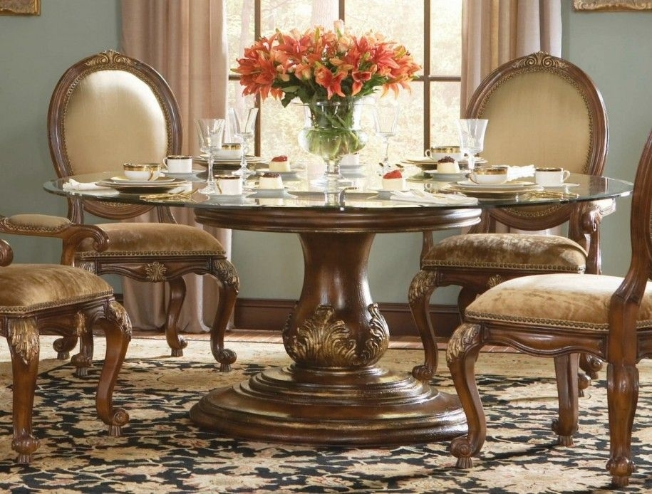 Round Glass Top Dining Table And Chairs Dining Room Designs: Luxury Intended For Valencia 72 Inch 7 Piece Dining Sets (Image 16 of 25)