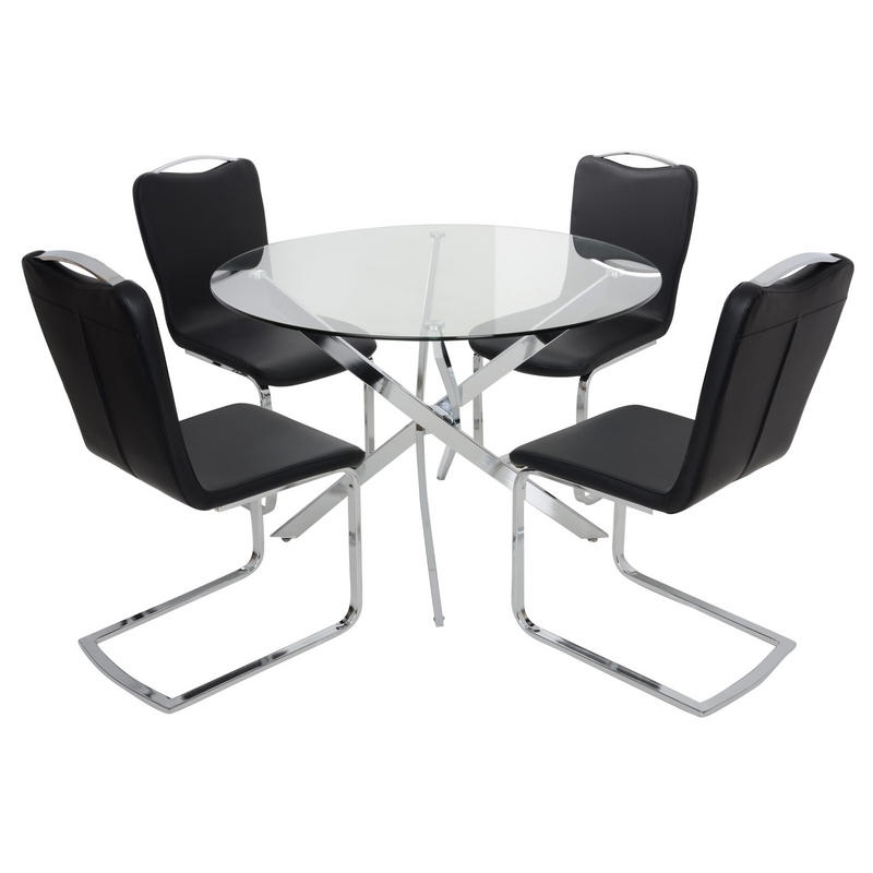 Round Glass Top Dining Table Set With 4 Black Chairs Recovering Regarding Round Black Glass Dining Tables And Chairs (View 17 of 25)