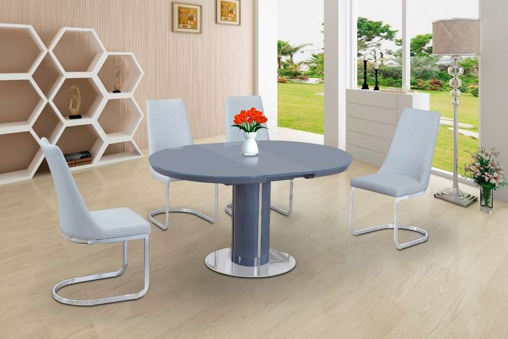 Round Grey Glass High Gloss Dining Table And 4 White Chairs With White High Gloss Oval Dining Tables (Image 15 of 25)