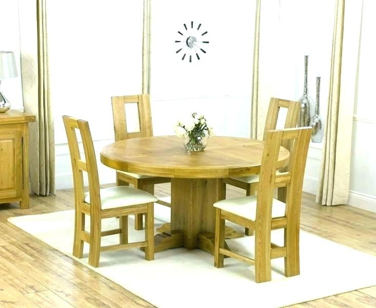 Round Oak Dining Table And 4 Chairs White Set Solid Wood Inside Round Oak Dining Tables And 4 Chairs (Image 18 of 25)