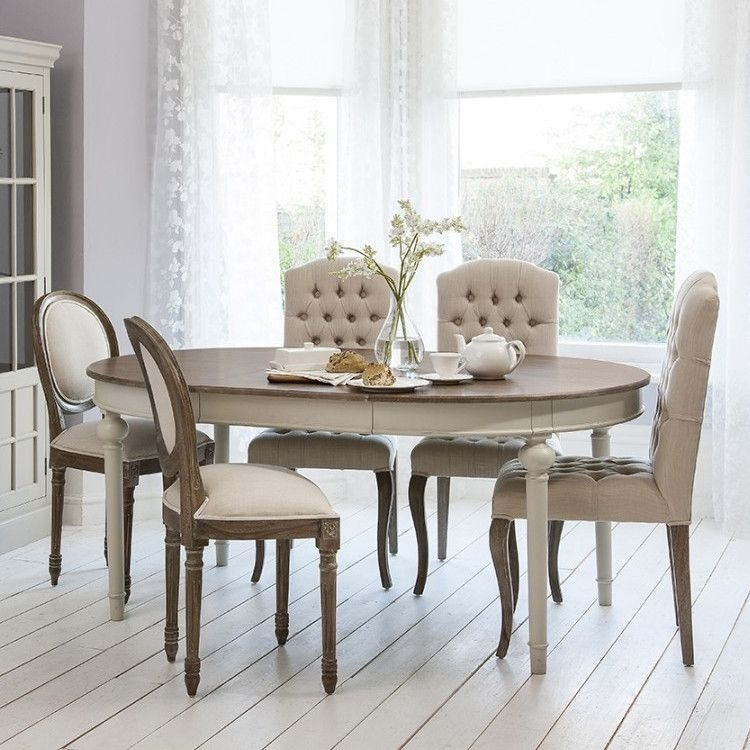Round – Oval Extendable Dining Table With Natural Top – Light Grey Pertaining To Round Extendable Dining Tables And Chairs (Image 15 of 25)