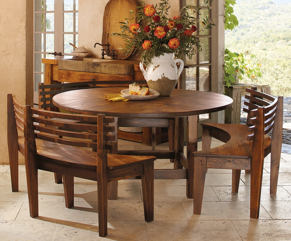 Round Parquet Table & Benches ~ $2,499 At Napastyle | Furniture Regarding Palazzo 7 Piece Dining Sets With Pearson White Side Chairs (View 5 of 25)
