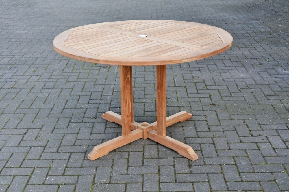 Round Teak Dining Table | Circular Outdoor Table | Sloane & Sons Inside Round Teak Dining Tables (Image 15 of 25)