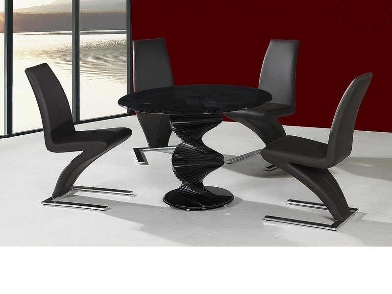 Round Twirl Glass Dining Table And 4 Chairs In Black – Homegenies Intended For Black Glass Dining Tables (Image 22 of 25)