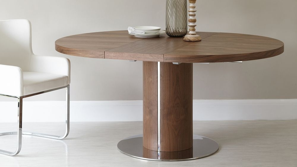 Round Walnut Extending Dining Table | Pedestal Base | Uk Inside Round Dining Tables Extends To Oval (Image 23 of 25)
