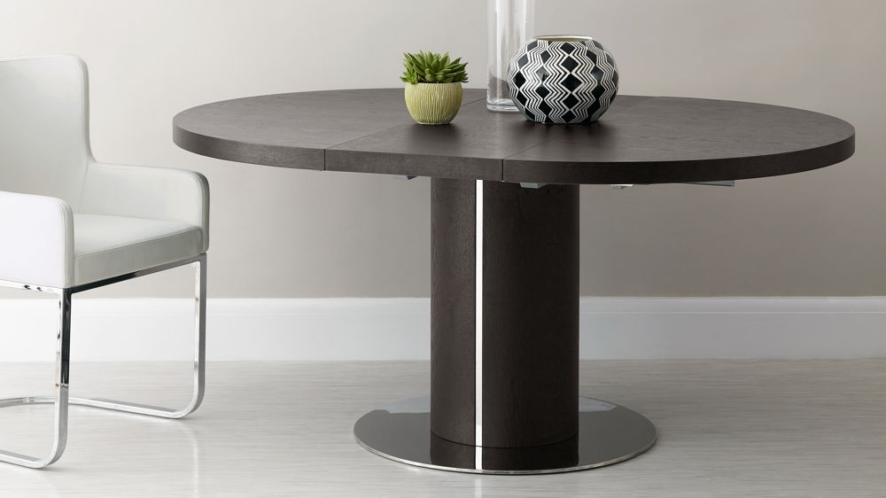 Round Wenge Wood Extending Dining Table | Pedestal Base | Uk Intended For Dark Round Dining Tables (Image 22 of 25)