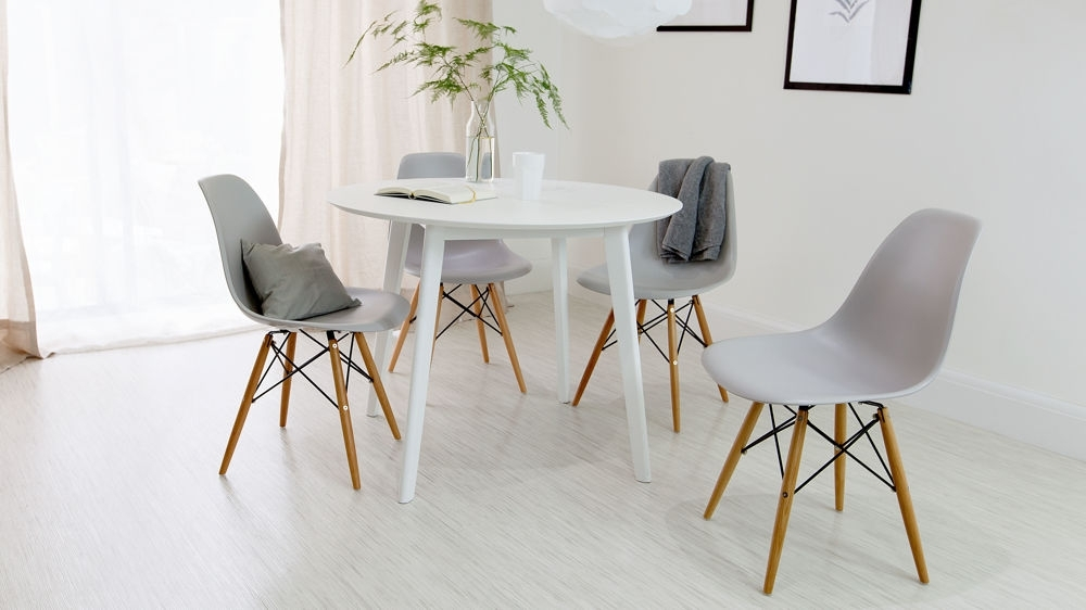 Round White Dining Table And Eames Dining Chair Set |Uk With White Dining Tables (Image 17 of 25)