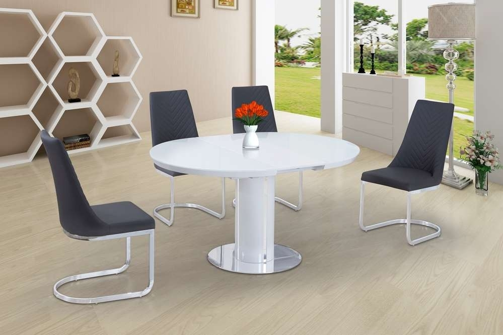 Round White Glass High Gloss Dining Table And 6 Grey Chairs Intended For Oval White High Gloss Dining Tables (View 16 of 25)
