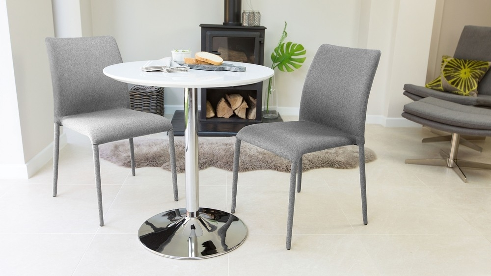 Round White Gloss 2 Seater Dining Table | Pedestal Base | Uk Intended For Two Seater Dining Tables And Chairs (Image 19 of 25)