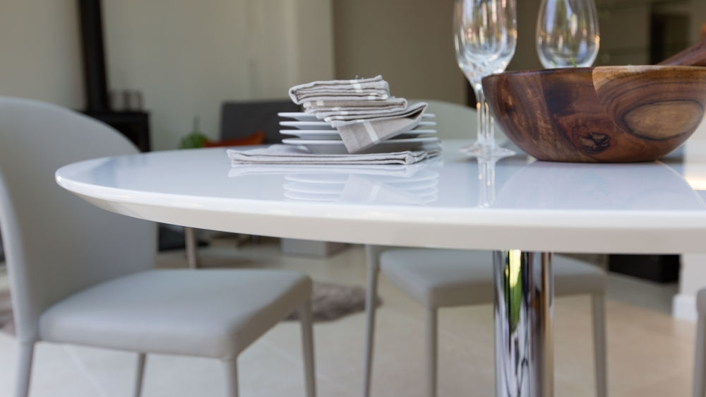 Round White Gloss Dining Table | Oak Dining Chairs | Uk Regarding White Gloss Dining Sets (Image 20 of 25)