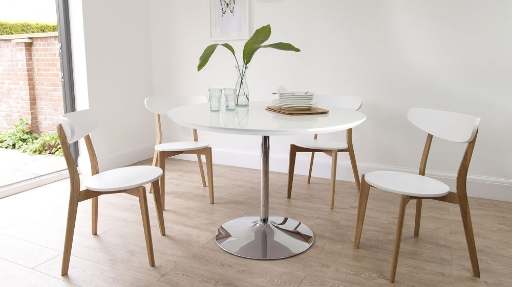 Round White Gloss Dining Table | Oak Dining Chairs | Uk Within Round White Dining Tables (View 2 of 25)