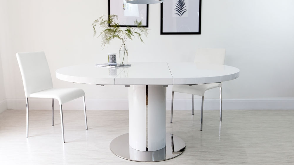 Round White Gloss Extending Dining Table | Pedestal Polished Steel Trim Within White Gloss Extending Dining Tables (Image 15 of 25)