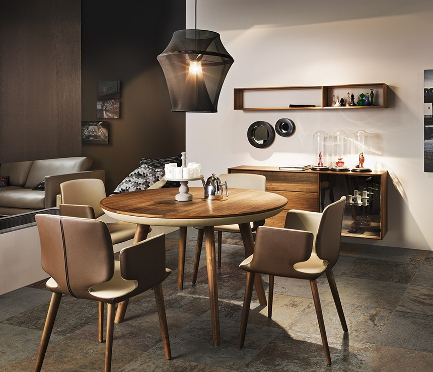 Round Wood And Leather Dining Table | Wharfside Luxury Furniture Within Cheap Round Dining Tables (Image 22 of 25)