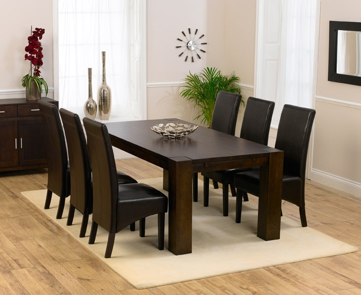 Round Wood Dining Table For 8 Dark Set And Chairs 37Acbae7C429Fd4E With Regard To Dark Wood Dining Tables 6 Chairs (View 11 of 25)