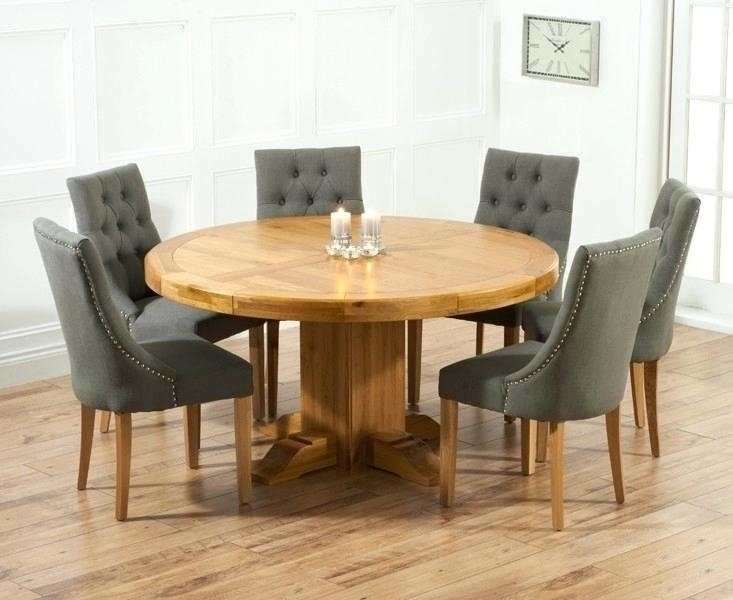 Round Wooden Dining Table For 6 – Modern Computer Desk Within Round Extending Oak Dining Tables And Chairs (Image 23 of 25)