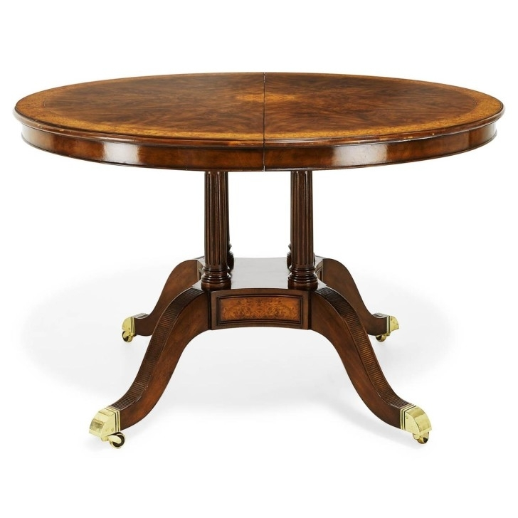 Rounded Brown Reclaimed Wood Dining Table With Skirt And Open Shelf In Jefferson Extension Round Dining Tables (Image 23 of 25)