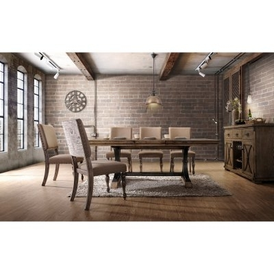 Roundhill Furniture Birmingham 7 Piece Butterfly Leaf Dining Table Pertaining To Laurent 7 Piece Rectangle Dining Sets With Wood Chairs (Image 22 of 25)