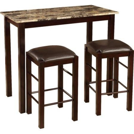 Roundhill Furniture Brando 3 Piece Counter Height Breakfast Set Intended For Jaxon Grey 5 Piece Extension Counter Sets With Wood Stools (Image 23 of 25)