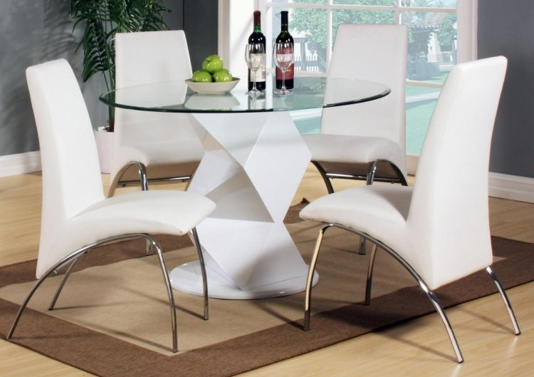 Rowley White High Gloss Dining Set With 4 Chairs For White High Gloss Dining Tables And 4 Chairs (Image 18 of 25)