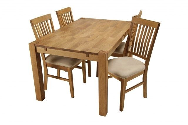 Royal Oak Small Dining Table & 4 Dining Chairs | Small Dining Sets Within Oak Furniture Dining Sets (Image 20 of 25)