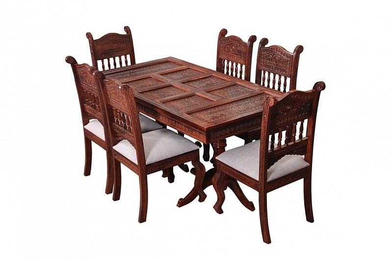 Royal Sheesham Wood Dining Table Set Fusion Of Rich Victorian Amp Inside Indian Dining Room Furniture (Image 23 of 25)