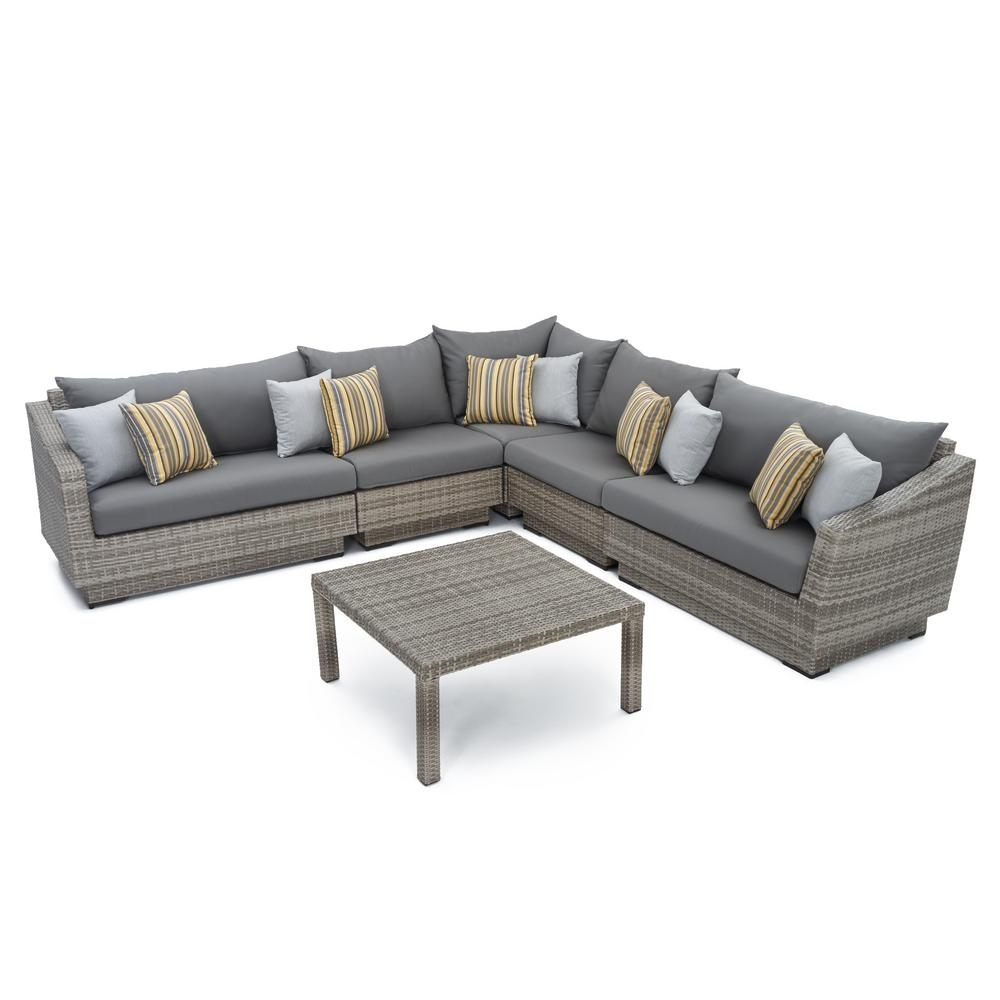 Rst Brands Cannes 6 Piece Patio Corner Sectional Set With Charcoal With Regard To Delano Smoke 3 Piece Sectionals (Image 17 of 25)