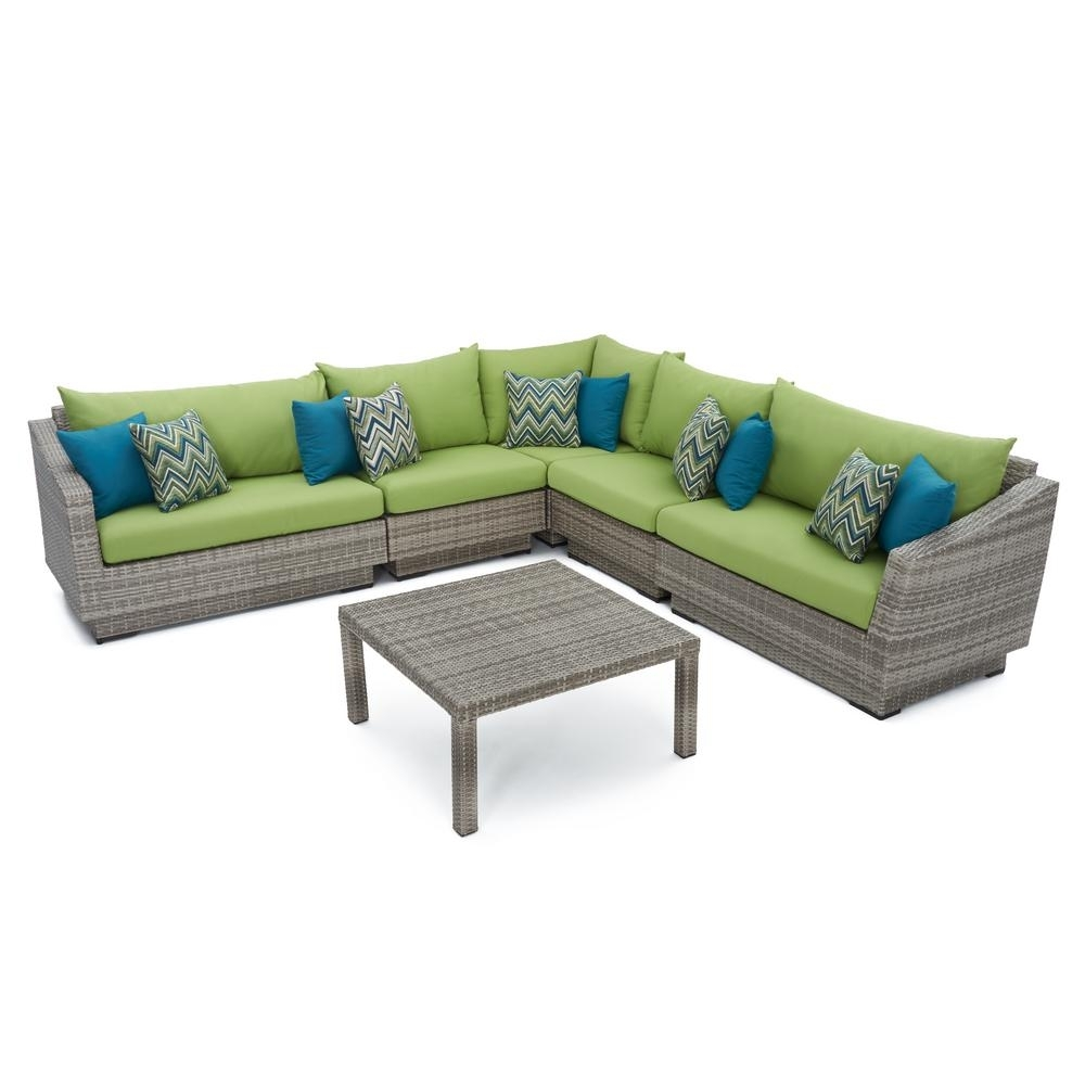 Rst Brands Cannes 6 Piece Patio Corner Sectional Set With Charcoal Within Delano Smoke 3 Piece Sectionals (Image 18 of 25)