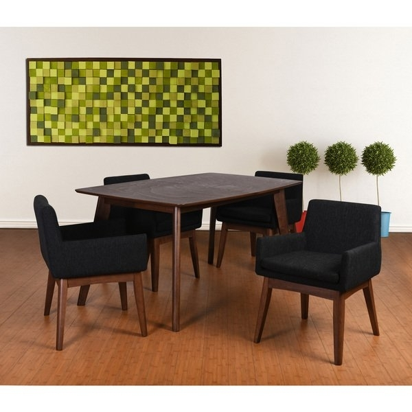Ruby Mid Century 5 Piece Living Room Armchair Dining Set, Liqurice Regarding Caden 5 Piece Round Dining Sets With Upholstered Side Chairs (View 21 of 25)