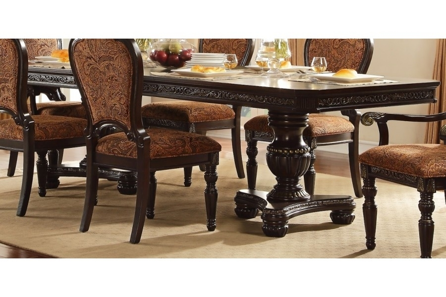 Russian Hill Double Pedestal Dining Sethomelegance Furniture Regarding Caira Extension Pedestal Dining Tables (View 14 of 25)