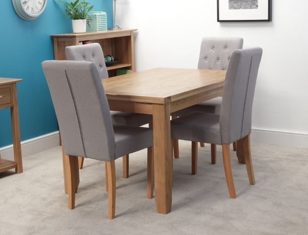 Rustic 140Cm Oak Dining Table With 4 Chairs Throughout Oak Dining Tables And 4 Chairs (Image 21 of 25)