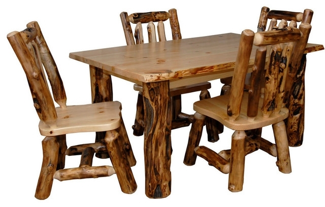Rustic Aspen Log Kitchen Table Set With 4 Dining Chairs – Rustic Inside Aspen Dining Tables (Image 22 of 25)