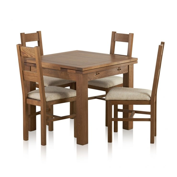 Rustic Dining Table Set | 3Ft Extending Table + 4 Chairs Regarding Oak Dining Tables And Fabric Chairs (Image 18 of 25)